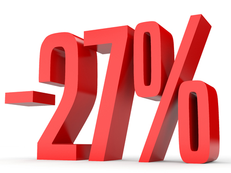 Minus twenty seven percent. Discount 27 %. 3D illustration on white background. Stock Photo