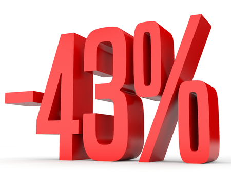 Minus forty three percent. Discount 43 %. 3D illustration on white background.