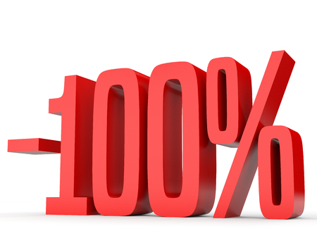Minus one hundred percent. Discount 100 %. 3D illustration on white background. Stock Photo
