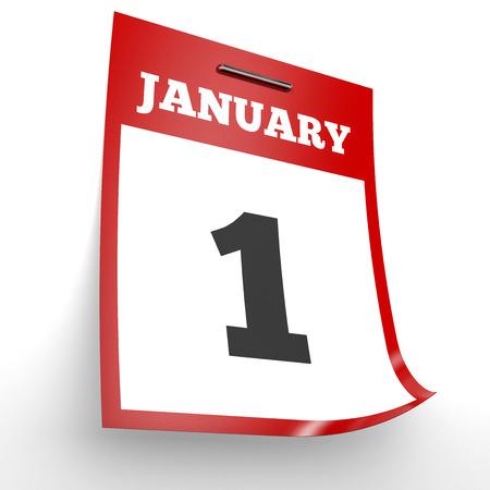 january 1st: January 1. Calendar on white background. 3D illustration.