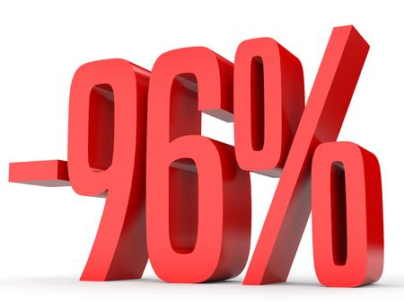 Minus ninety six percent. Discount 96 %. 3D illustration on white background. Stock Photo