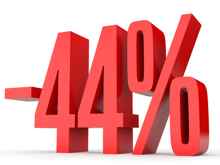 perdidas y ganancias: Minus forty four percent. Discount 44 %. 3D illustration on white background.
