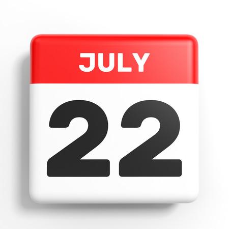 2 months: July 22. Calendar on white background. 3D illustration. Stock Photo