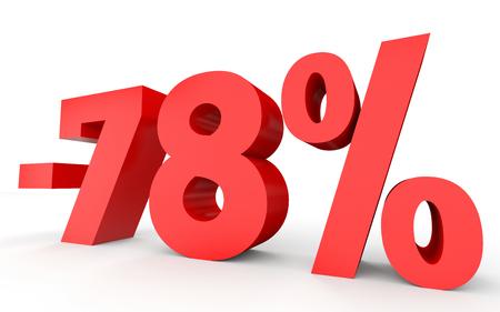 seventy: Minus seventy eight percent. Discount 78 %. 3D illustration on white background.