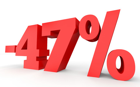 Minus forty seven percent. Discount 47 %. 3D illustration on white background.