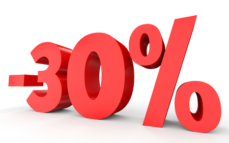 thirty percent off: Minus thirty percent. Discount 30 %. 3D illustration on white background.