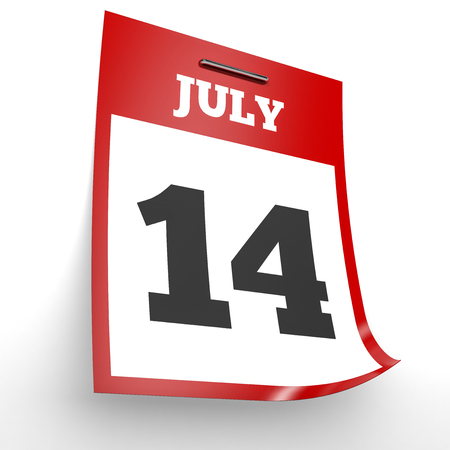 fourteenth: July 14. Calendar on white background. 3D illustration.