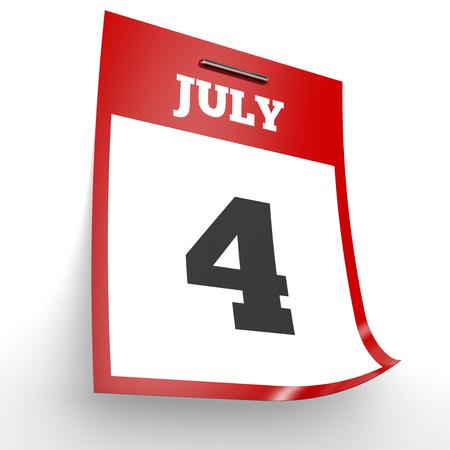 July 4. Calendar on white background. 3D illustration. Stock Photo