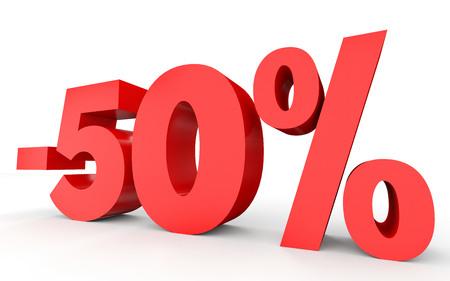 percent sign: Minus fifty percent. Discount 50 %. 3D illustration on white background.