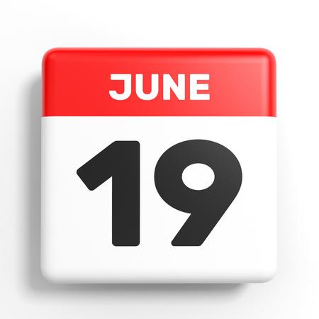 June 19. Calendar on white background. 3D illustration.