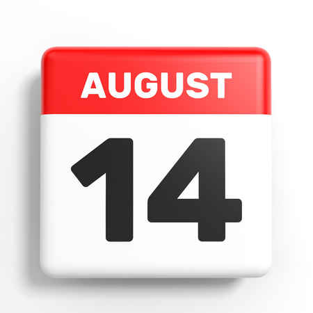fourteenth: August 14. Calendar on white background. 3D illustration. Stock Photo