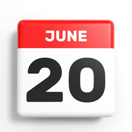 20th: June 20. Calendar on white background. 3D illustration.