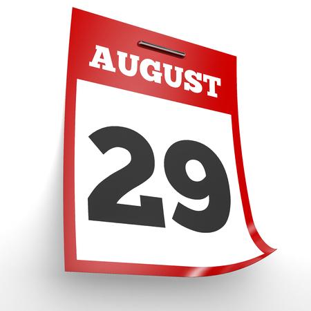 twenty ninth: August 29. Calendar on white background. 3D illustration.