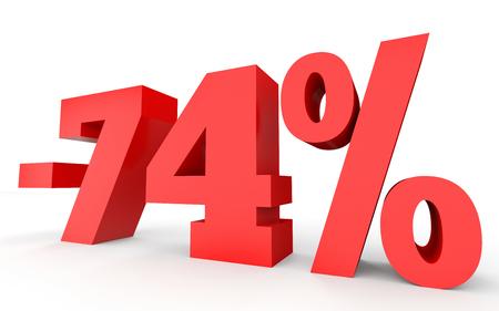 seventy: Minus seventy four percent. Discount 74 %. 3D illustration on white background.