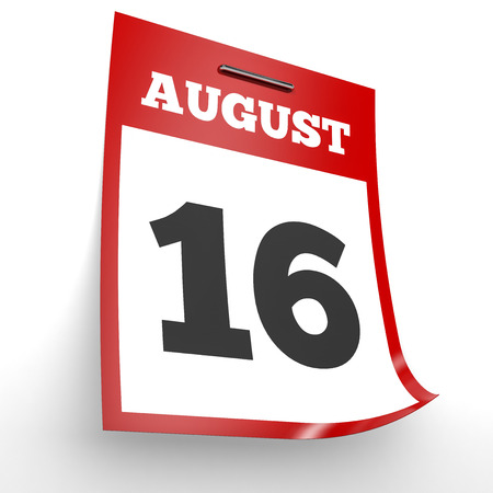 sixteenth note: August 16. Calendar on white background. 3D illustration.