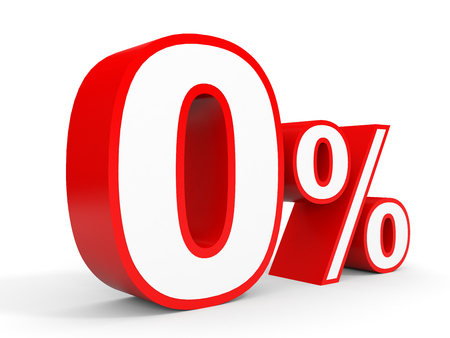 percentage: Zero percent off. Discount 0 %. 3D illustration on white background.