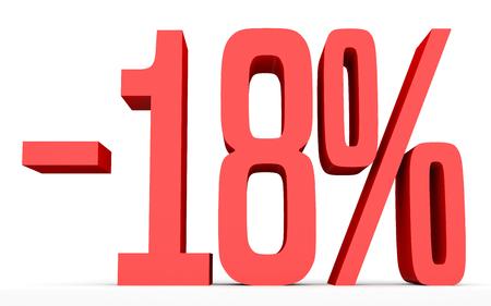 Minus eighteen percent. Discount 18 %. 3D illustration on white background. Stock Photo
