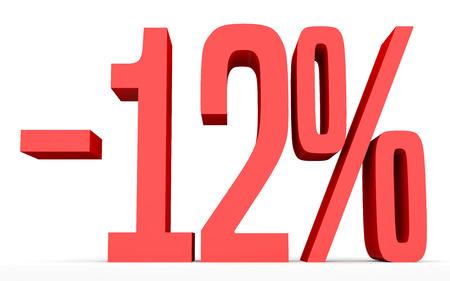 Minus twelve percent. Discount 12 %. 3D illustration on white background.