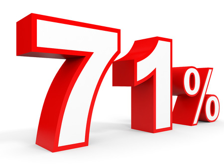 Seventy one percent off. Discount 71 %. 3D illustration on white background.