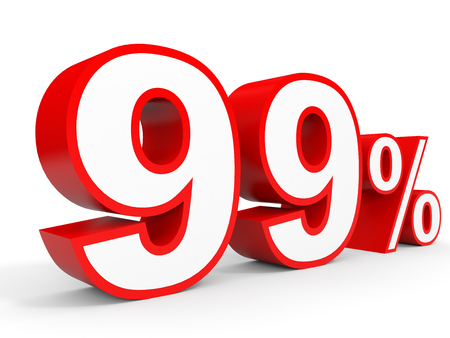 perdidas y ganancias: Ninety nine percent off. Discount 99 %. 3D illustration on white background. Foto de archivo