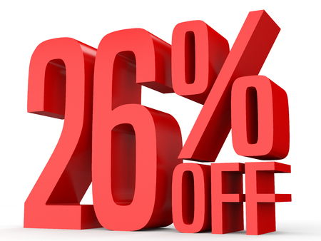 Twenty six percent off. Discount 26 %. 3D illustration on white background.