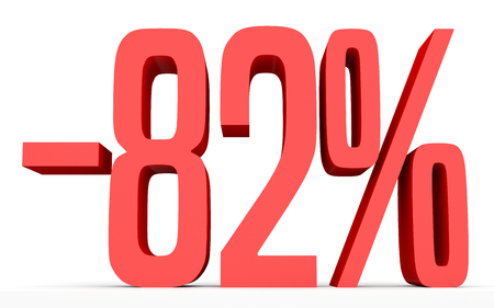 Minus eighty two percent. Discount 82 %. 3D illustration on white background.