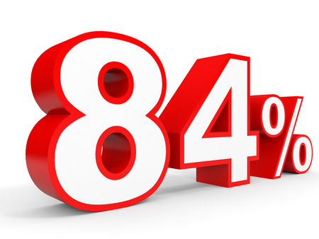 Eighty four percent off. Discount 84 %. 3D illustration on white background.