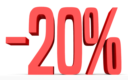 Minus twenty percent. Discount 20 %. 3D illustration on white background. Stock Photo