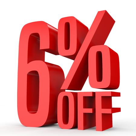 perdidas y ganancias: Six percent off. Discount  6 %. 3D illustration on white background.