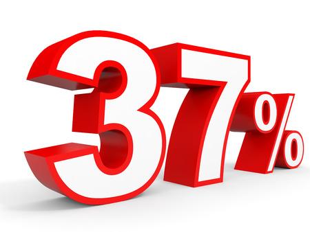 perdidas y ganancias: Thirty seven percent off. Discount 37 %. 3D illustration on white background. Foto de archivo