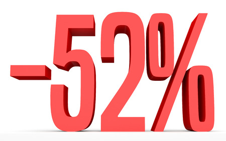 Minus fifty two percent. Discount 52 %. 3D illustration on white background. Stock Photo