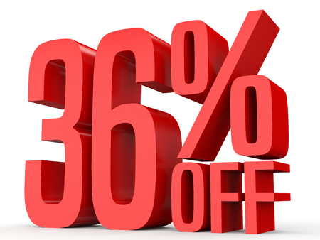 Thirty six percent off. Discount 36 %. 3D illustration on white background. Stock Photo