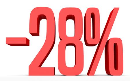 Minus twenty eight percent. Discount 28 %. 3D illustration on white background.