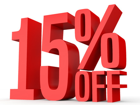 Fifteen percent off. Discount 15 %. 3D illustration on white background. 版權商用圖片