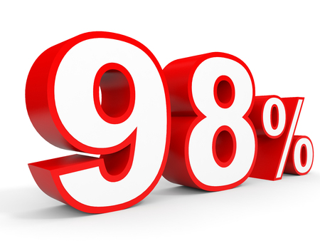 Ninety eight percent off. Discount 98 %. 3D illustration on white background.