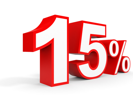 fifteen: Fifteen percent off. Discount 15 %. 3D illustration on white background. Stock Photo