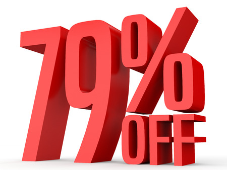 Seventy nine percent off. Discount 79 %. 3D illustration on white background. Stock Photo