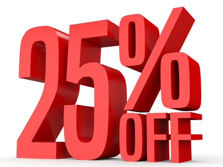 Twenty five percent off. Discount 25 %. 3D illustration on white background. 版權商用圖片