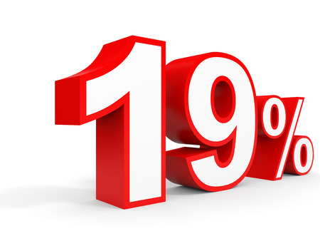 Nineteen percent off. Discount 19 %. 3D illustration on white background.