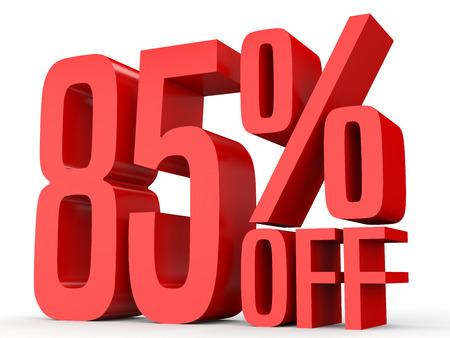 perdidas y ganancias: Eighty five percent off. Discount 85 %. 3D illustration on white background. Foto de archivo