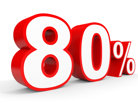 Eighty percent off. Discount 80 %. 3D illustration on white background. Stock Photo