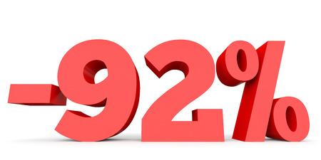 92: Minus ninety two percent. Discount 92 %. 3D illustration on white background. Stock Photo