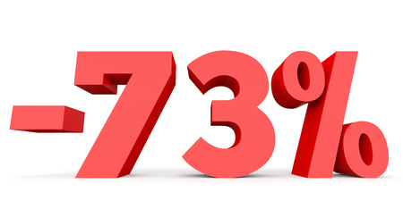 seventy: Minus seventy three percent. Discount 73 %. 3D illustration on white background.