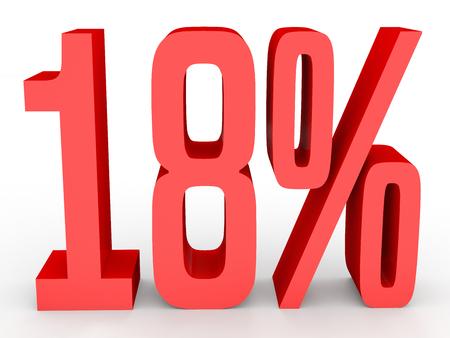 perdidas y ganancias: Eighteen percent off. Discount 18 %. 3D illustration on white background. Foto de archivo