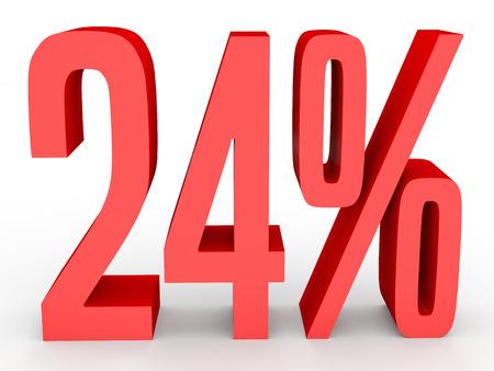 perdidas y ganancias: Twenty four percent off. Discount 24 %. 3D illustration on white background.