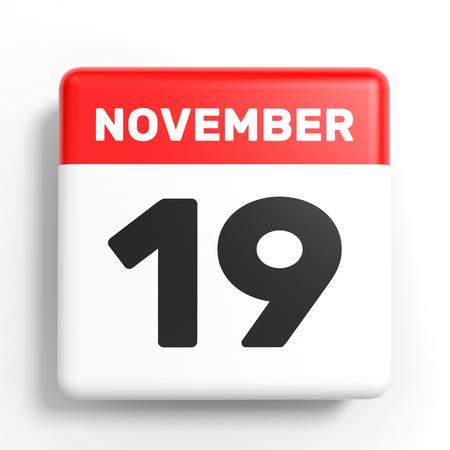 November 19. Calendar on white background. 3D illustration.