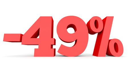 40: Minus forty nine percent. Discount 49 %. 3D illustration on white background. Stock Photo