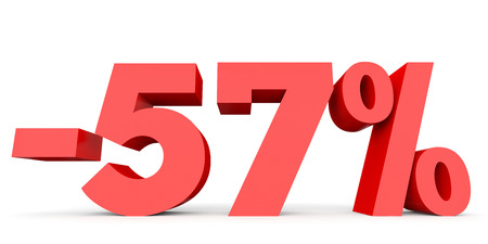 57: Minus fifty seven percent. Discount 57 %. 3D illustration on white background.