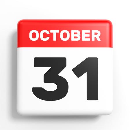 thirty: October 31. Calendar on white background. 3D illustration.