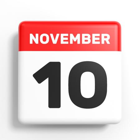 November 10. Calendar on white background. 3D illustration.